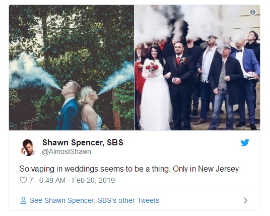 Vaping in wedding photos
