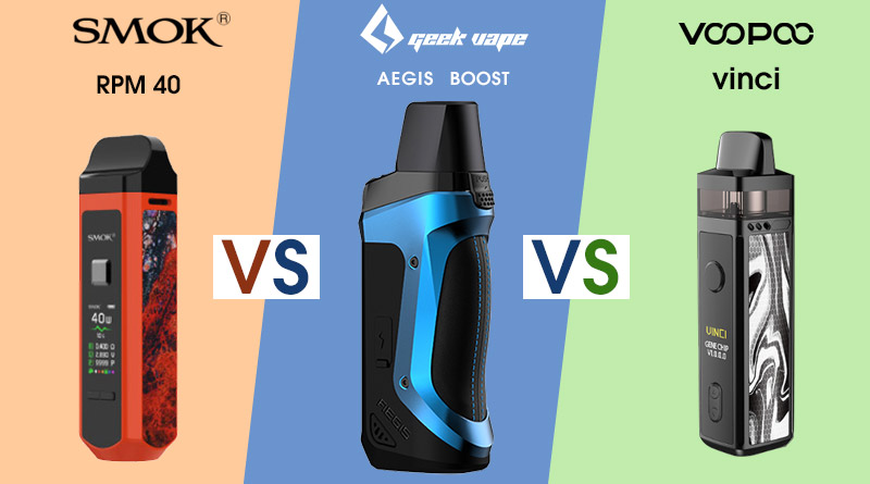 Geekvape Aegis Boost VS Voopoo vinci VS Smok RPM40