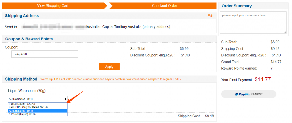 nicotine eliquid shipping options to Australia