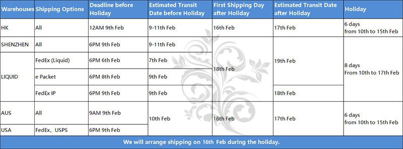 CNY Holiday Shipping Arrangement