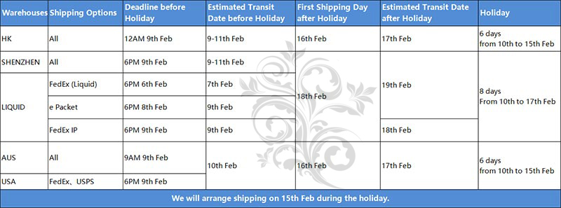 CNY Holiday Shipping Arrangement