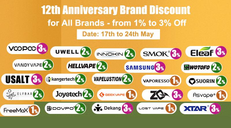 12th Anniversary Brand Discount-Brands