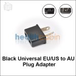 Black Universal EU/US to AU Plug Adapter