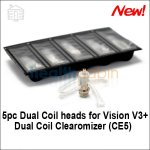 5pc Dual Coil Heads for Vision V3+ Dual Coil Clearomizer (CE5)
