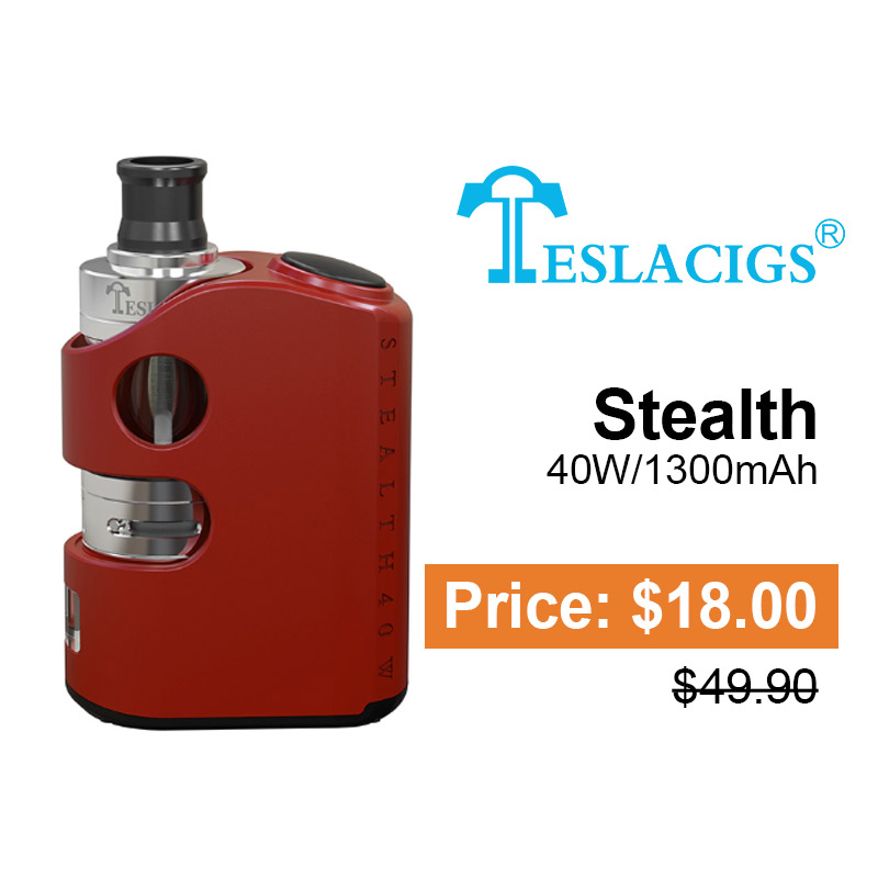 Tesla Stealth 40W 1300mAh Kit with Shadow 2ML Tank Atomizer Red