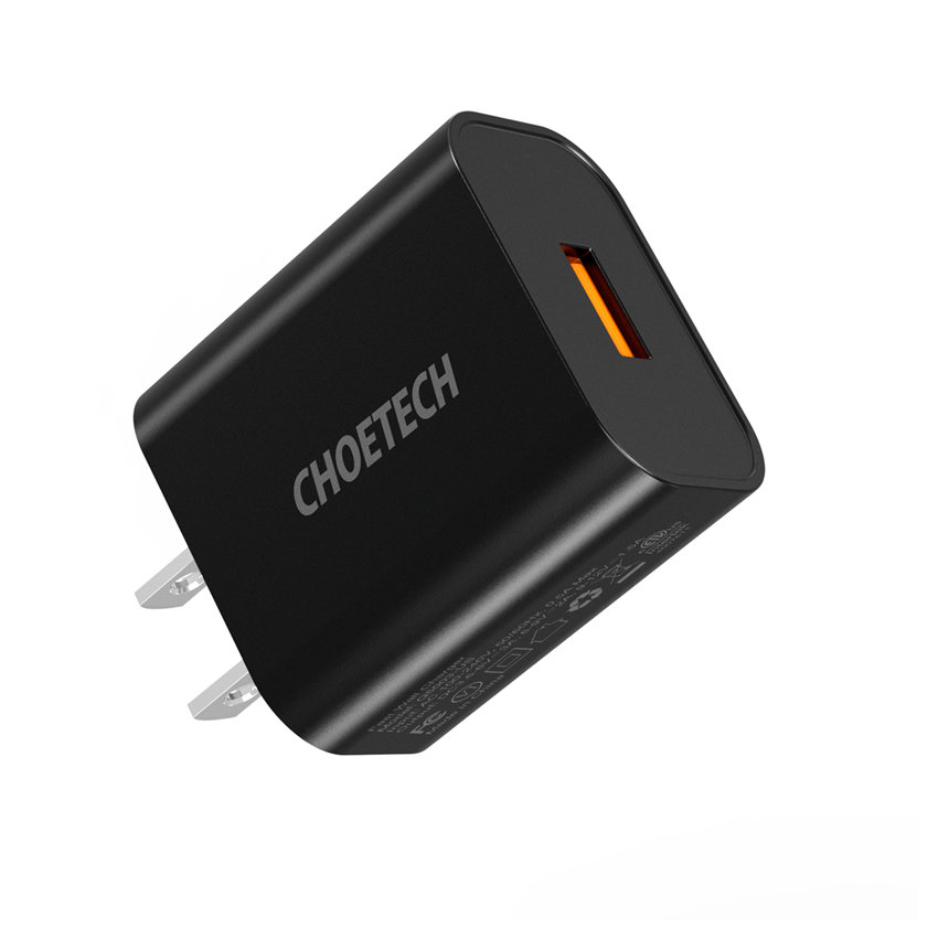CHOETECH Q5003 18W USB-A Fast Charging For 7/7 Plus/6S/6S Plus/6 Plus/6/SE (2020)/ 11/ 11Pro/11ProMax/XsMax,/XR/ XS/X/8/8 Plus/ AirPods/Ipad/Samsung/LG/HTC/Huawei/Moto/xiao MI and More