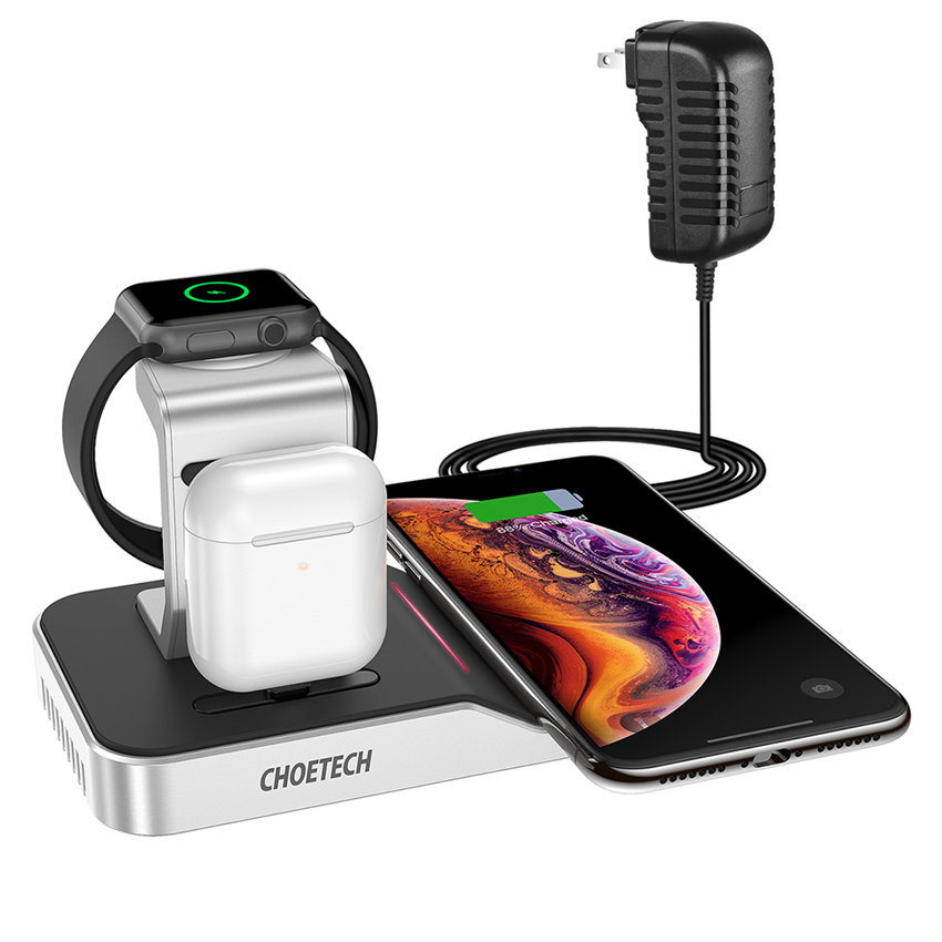 CHOETECH T316 MFi Certificated 4-in-1 Wireless Charging Dock For 11/11Pro/11ProMax/XR/XsMax/XS/X/8/8Plus