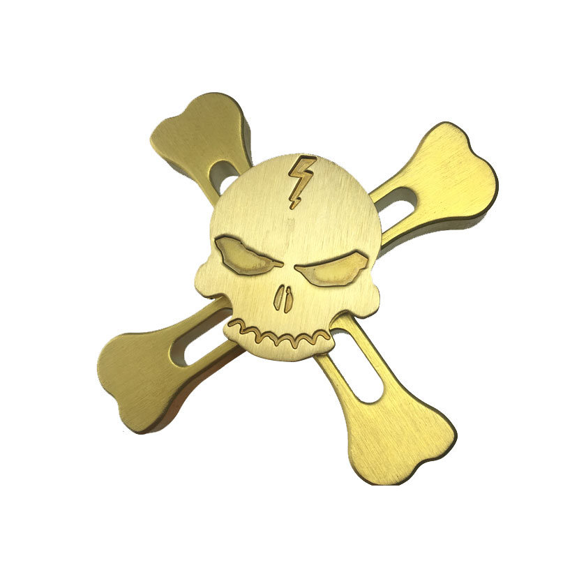 Hand Spinner Fidget Toy Relieves Anxiety and Boredom Skull Brass