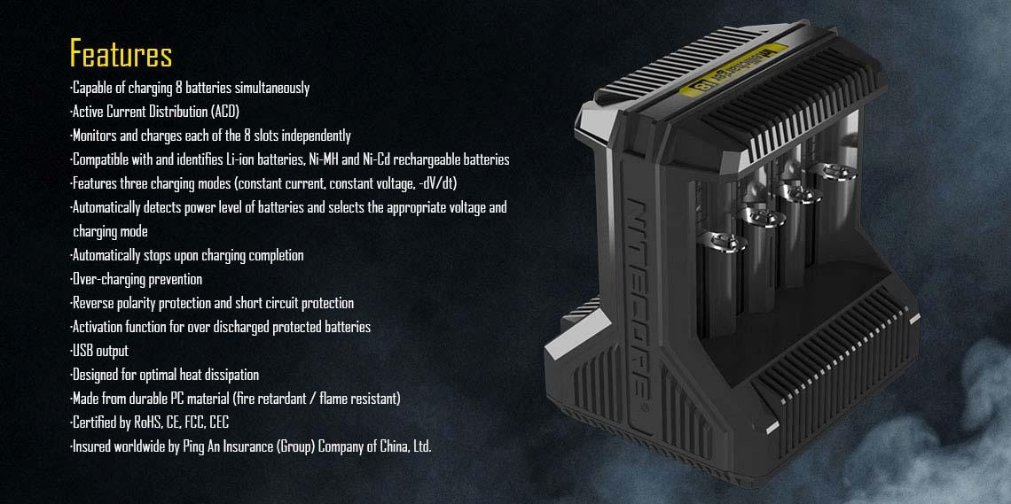 Nitecore I8 Battery Charger 8 Bay