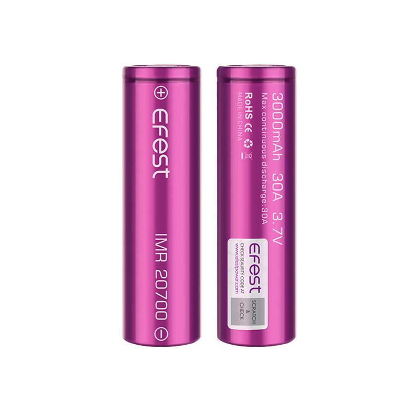 Efest IMR 20700 3000mAh 30A Flat Top Li-ion Rechargeable Battery