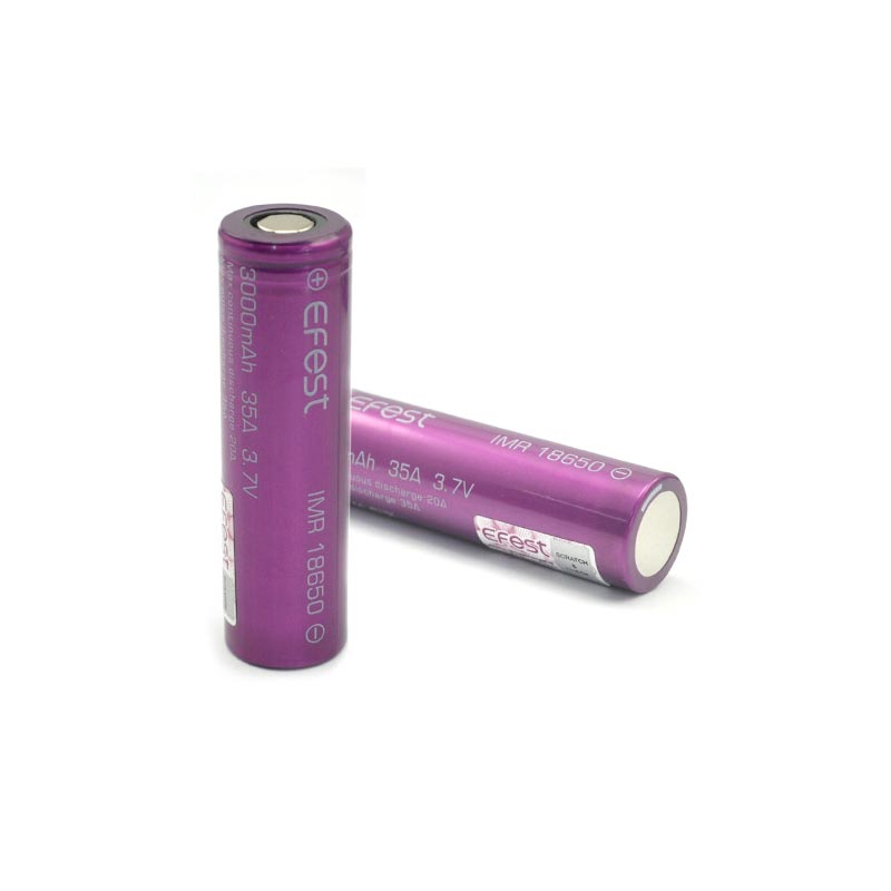 2pc Efest IMR 18650 3000mAh 35A Flat Top Li ion Rechargeable Battery