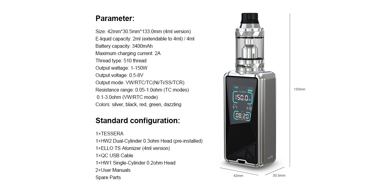 Eleaf Tessera 150W Mod Kit