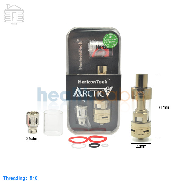 Horizon Arctic V8 Gold Tank Atomizer 4ml