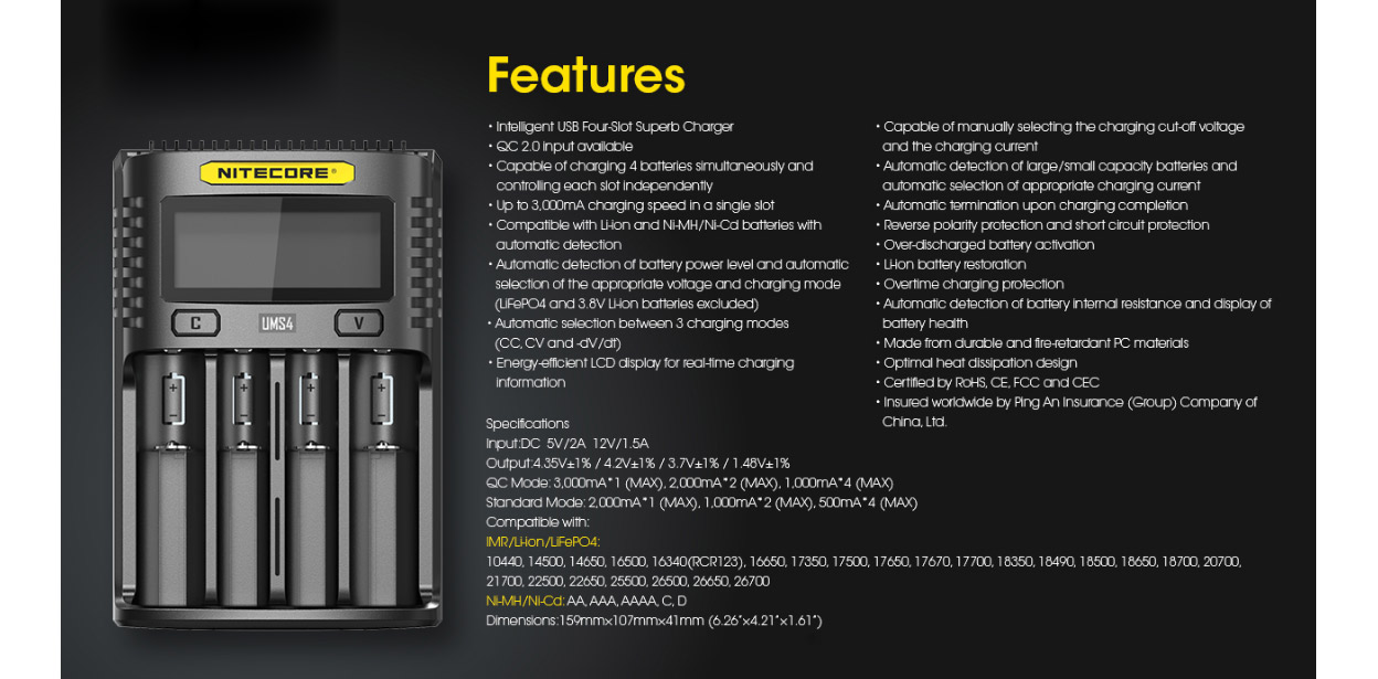 Nitecore UMS4 USB Charger