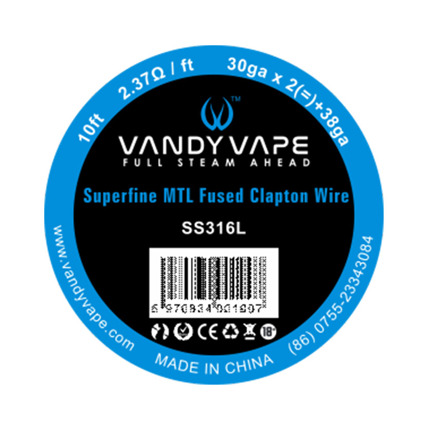 10ft Superfine MTL Fused Clapton Wire SS316 30ga*2+38ga