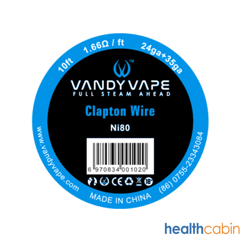 10ft Vandy vape Ni80 Clapton Wire 24ga+35ga
