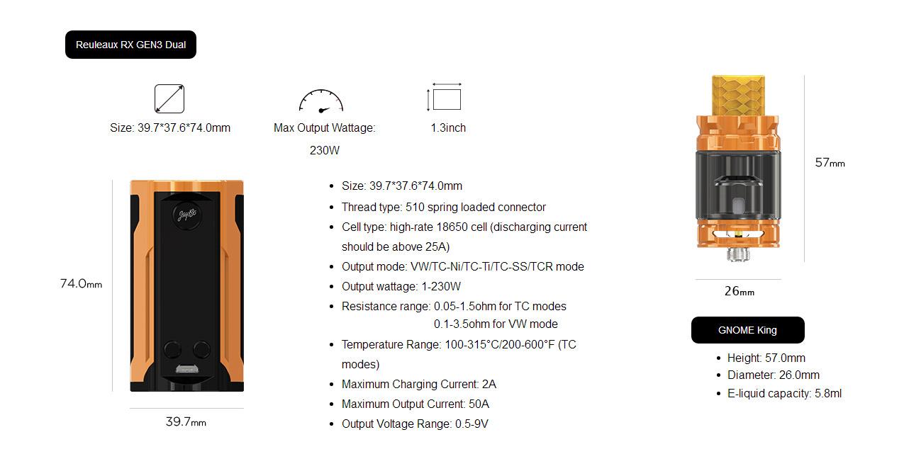 Wismec Reuleaux RX GEN3 Dual 230W Mod Kit