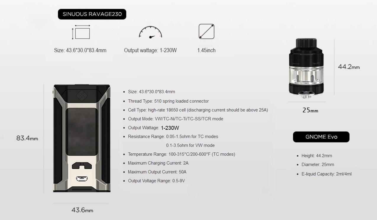 Wismec Sinuous Ravage230 230W Mod Kit
