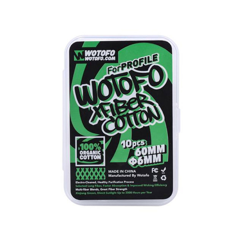 10pcs Wotofo Xfiber Cotton 6mm (for Profile RDA&Profile Unity RTA)